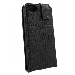 iPhone 5 - Etui Cuir Flip Croco Noir