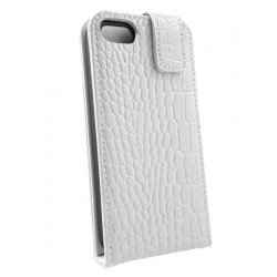 iPhone 5 - Etui Cuir Flip Croco Blanc