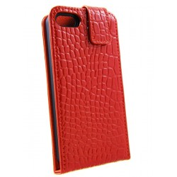 iPhone 5 - Etui Cuir Flip Croco Rouge