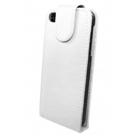 iPhone 5 - Etui Simili Cuir Flip Blanc