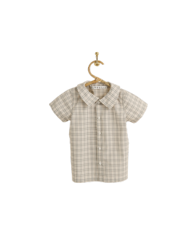 PIROULI - Short-Sleeved Shirt Hugo gray tartan pattern
