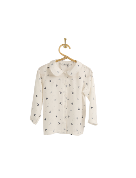 PIROULI - Blouse Denise blue bird print