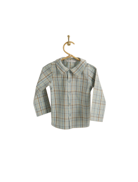 PIROULI - Shirt Christophe blue madras pattern
