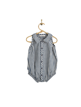 PIROULI - Rompers Timéo navy gingham pattern