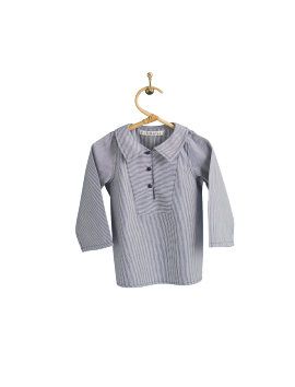 PIROULI - Pea Jacket Célestin navy stripes pattern