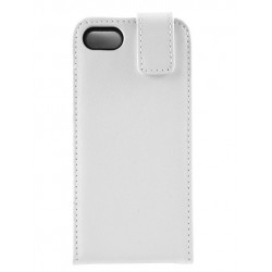iPhone 5 - Etui Cuir Flip HQ Blanc