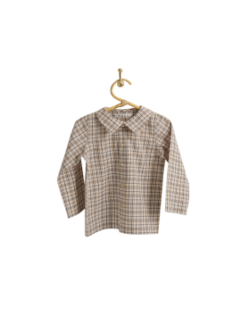 PIROULI - Shirt Christophe cream tartan pattern