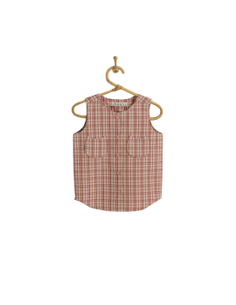PIROULI - Overall Jade pink tartan pattern