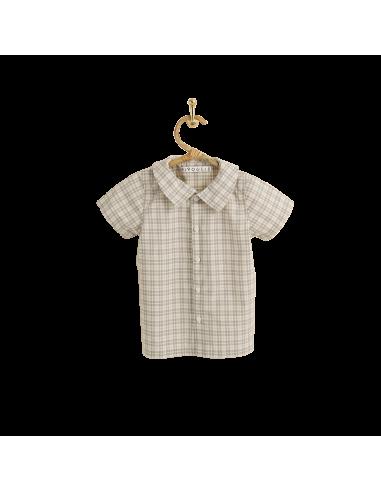PIROULI - Short-Sleeved Shirt Hugo gray tartan pattern