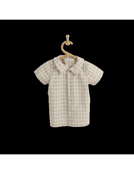 PIROULI - Shirt Christophe blue madras pattern