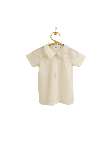PIROULI - Short-Sleeved Shirt Hugo plain greige