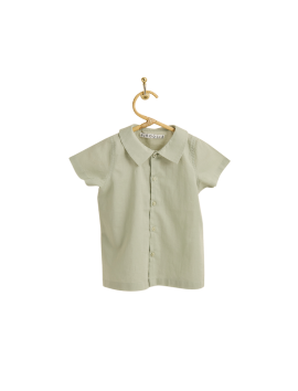PIROULI - Short-Sleeved Shirt Hugo plain kaki