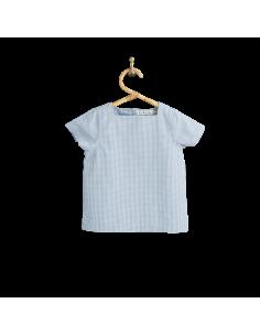 PIROULI - Marinière Kévin motif vichy bleu