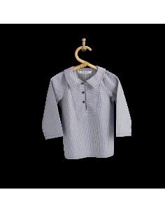 PIROULI - Pea Jacket Célestin navy stripes pattern